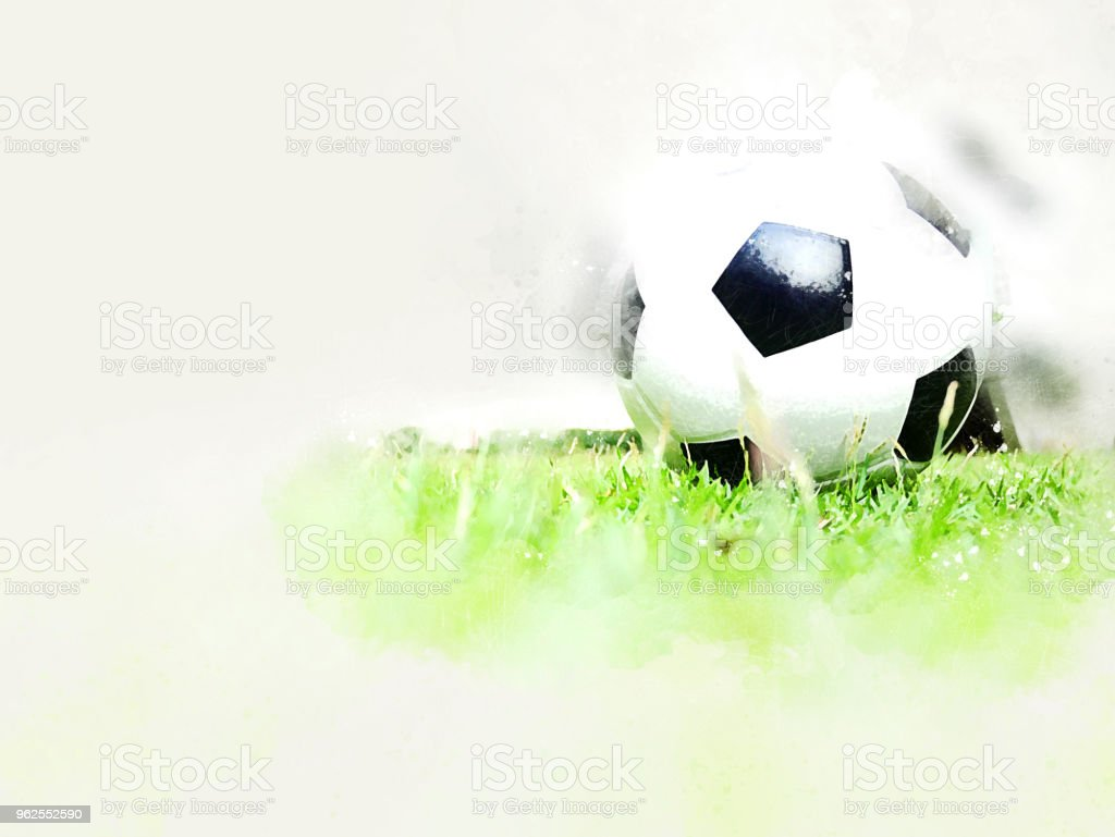 Abstract Football ball on green grass watercolor painting background. - Royalty-free Agricultural Field Stock Photo