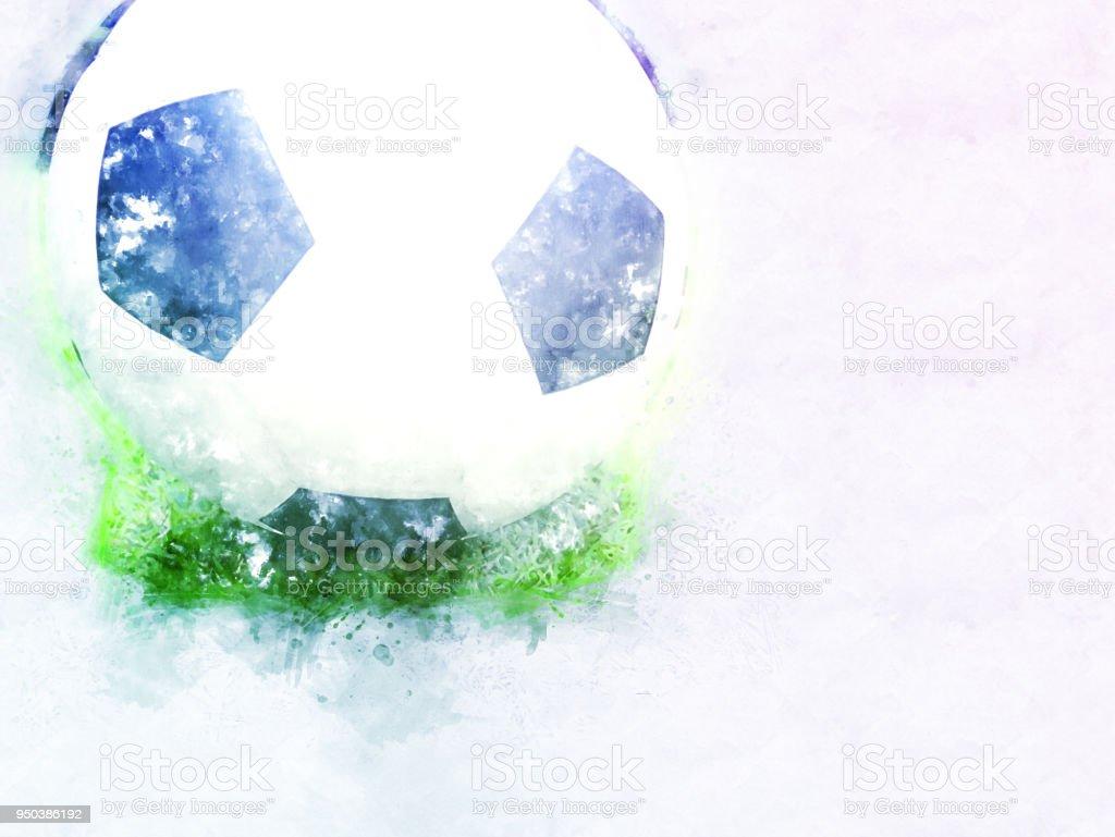 Fussballball Auf Aquarell Hintergrund Abstrahieren Stockfoto