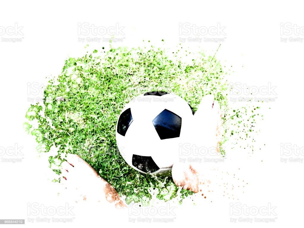 Abstrakte Fussball Auf Rasen Aquarell Hintergrund Stockfoto