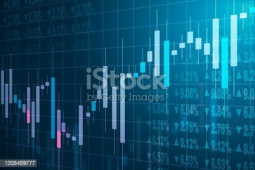 istock Abstract forex charts with stats data on a blue background. 3D Rendering 1205459777