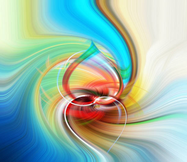 Abstract form - lights and colors swirled - two hearts, love stock photo