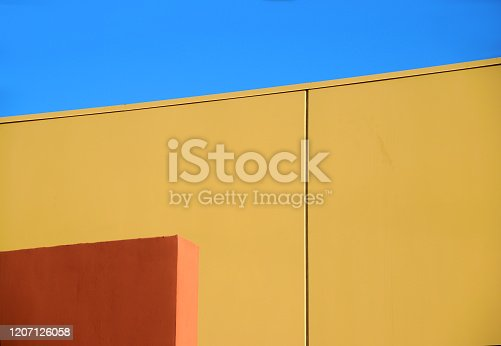 Abstract forms and beautiful colors in exterior architecture in geometric style. Copyspace.