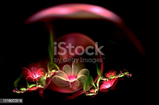 istock abstract fractal 3d flowers on a dark background. Multi-colored fractal image 1219022516