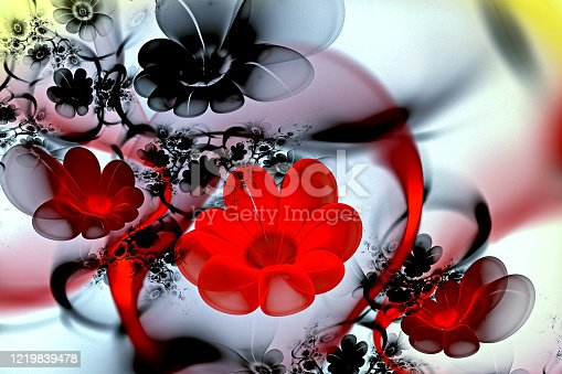 istock abstract fractal 3d flowers on a light background. Multi-colored fractal image 1219839478