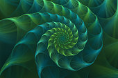 Abstract fractal blue and green sea shell. Golden spiral. An amazing fibonacci pattern in a nautilus shell. Computer generated image.