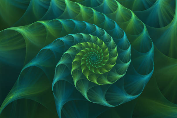 Abstract fractal blue and green nautilus sea shell stock photo