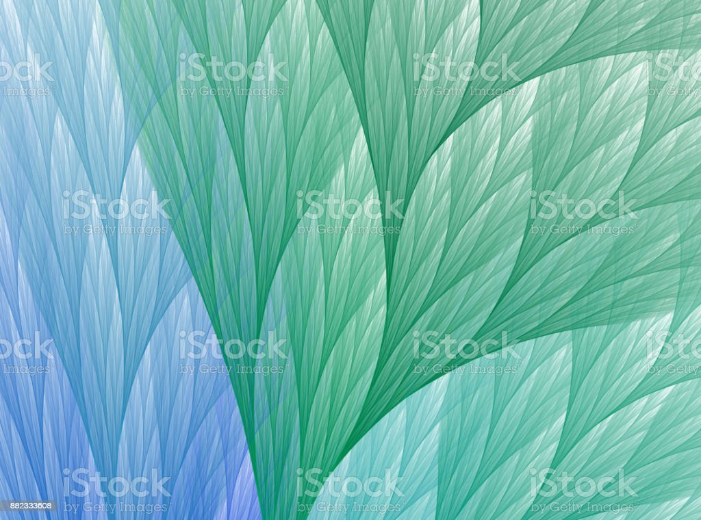Abstract fractal green and blue leaf background stock photo