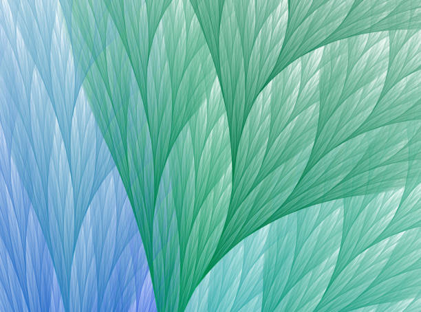 abstract fractal green and blue leaf background - green background stock photos and pictures