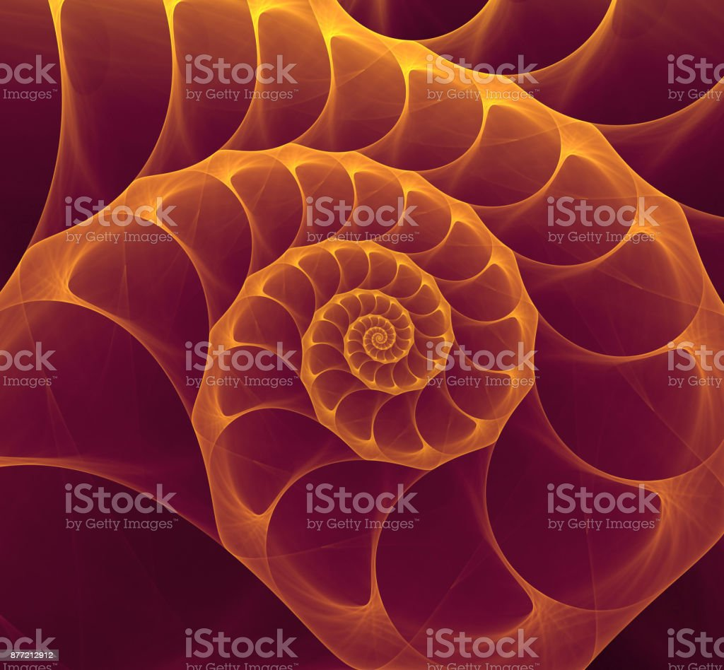 Abstract fractal purple gold nautilus shell spiral stock photo
