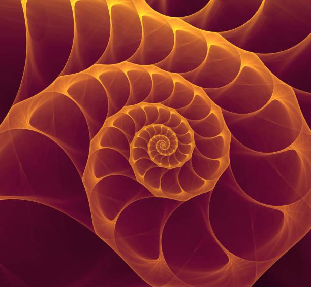 abstract fractal purple gold nautilus shell spiral - golden ratio стоковые фото и изображения