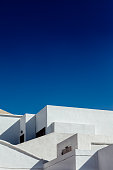 Abstract fragment of white architecture house in Lanzarote. Traditional building exterior. background