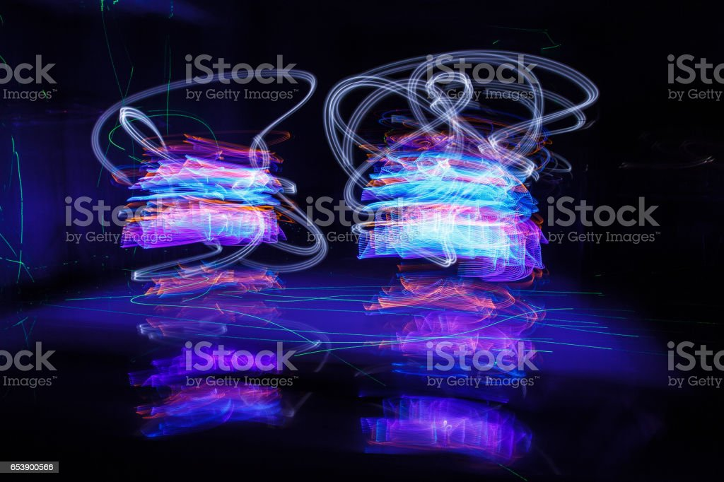 Abstract freezelight curves. light painting stock photo