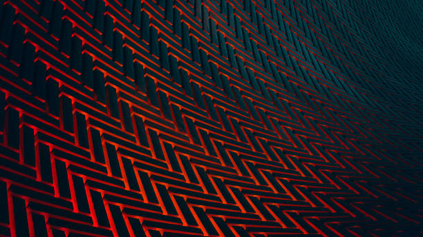 abstract futuristic 3d background - vr red background imagens e fotografias de stock