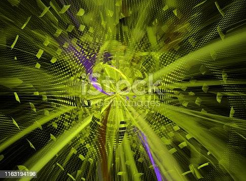 istock Abstract futuristic 3d image of electromagnetic radiation - solar or nuclear energy 1163194196