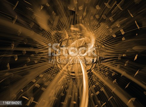 istock Abstract futuristic 3d image of electromagnetic radiation - solar or nuclear energy 1163194201