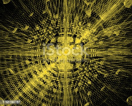 istock Abstract futuristic 3d image of electromagnetic radiation - solar or nuclear energy 1163194787