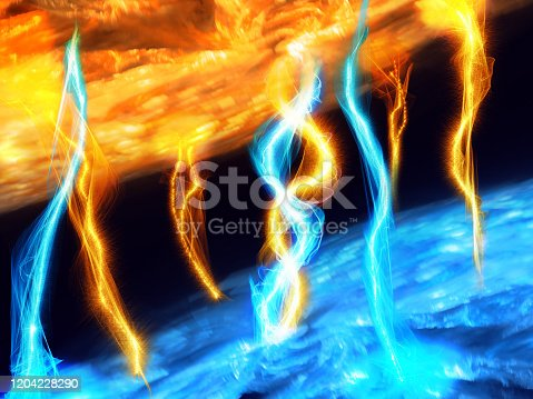657546096 istock photo Abstract futuristic 3d image of electromagnetic radiation - solar or nuclear energy 1204228290