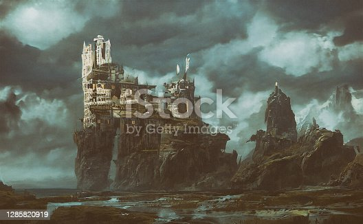 Abstract futuristic background with a ruined castle and town on a cliff in the middle of a valley. Forgotten land, creepy background.