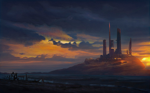Abstract futuristic background with a ruined castle and town on a cliff in the middle of a valley with a river. Forgotten land, cloudy, partly sunny background on sunset.