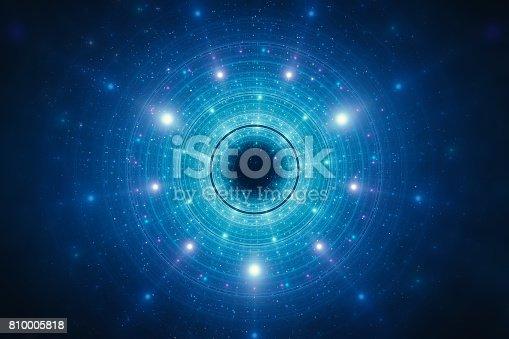 istock Abstract futuristic circular background 810005818