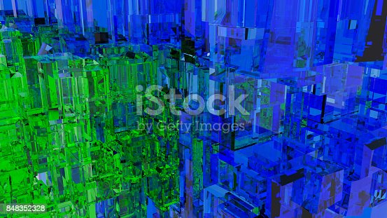 istock Abstract futuristic city with glass cubes. Blue and green color 848352328
