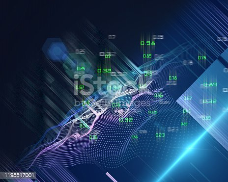 istock Abstract futuristic concept of predictive analysis. Quantum virtual cryptography. Big data.  Blockchain. Business visualization of artificial intelligence. 1195517001