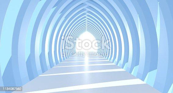 Abstract Futuristic Corridor Interior Design. Future concept.