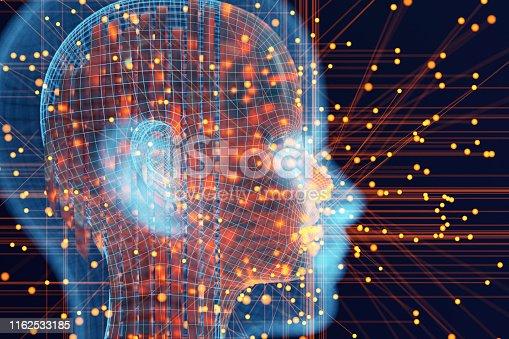 Abstract futuristic cyborg AI head.