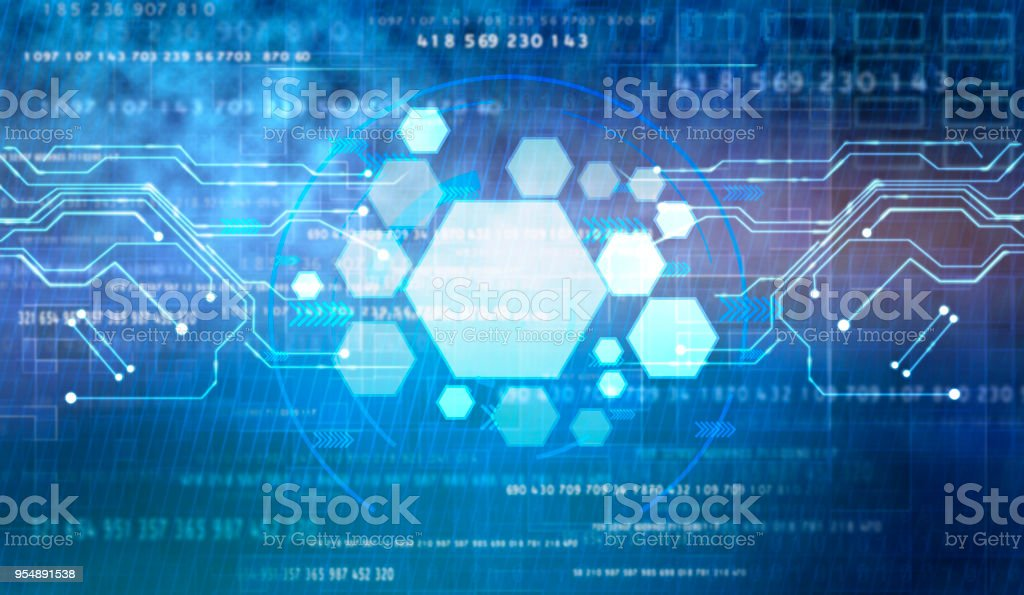 Abstract futuristic digital technology background. stock photo