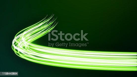 istock Abstract futuristic dynamic neon stream. Digital data flow with optical cable 1158440854
