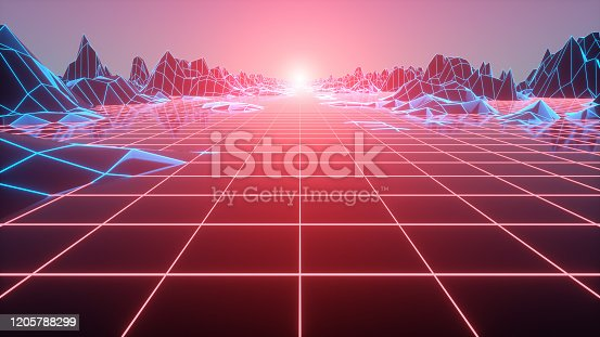 927062500 istock photo Abstract futuristic grid landscape 1980s style. 80s Retro Sci-Fi background. 3d illustration 1205788299
