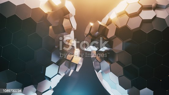 Abstract Futuristic Honeycomb Spheres - 3d rendered image technology ai concept. Abstract futuristic background.