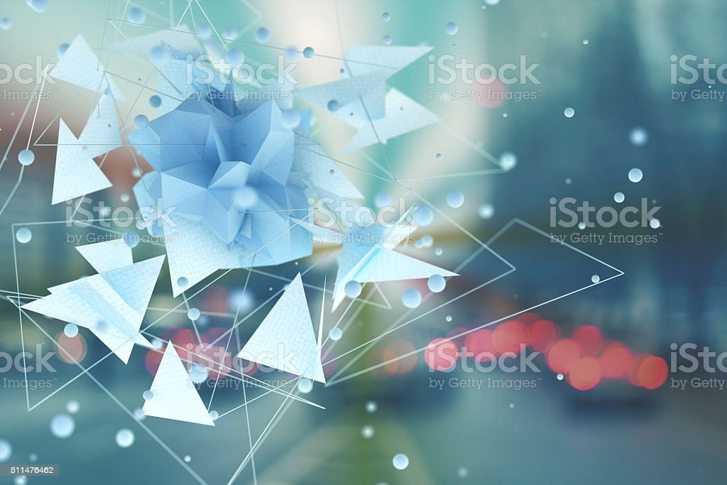 Abstract futuristic network shape on urban background stock photo