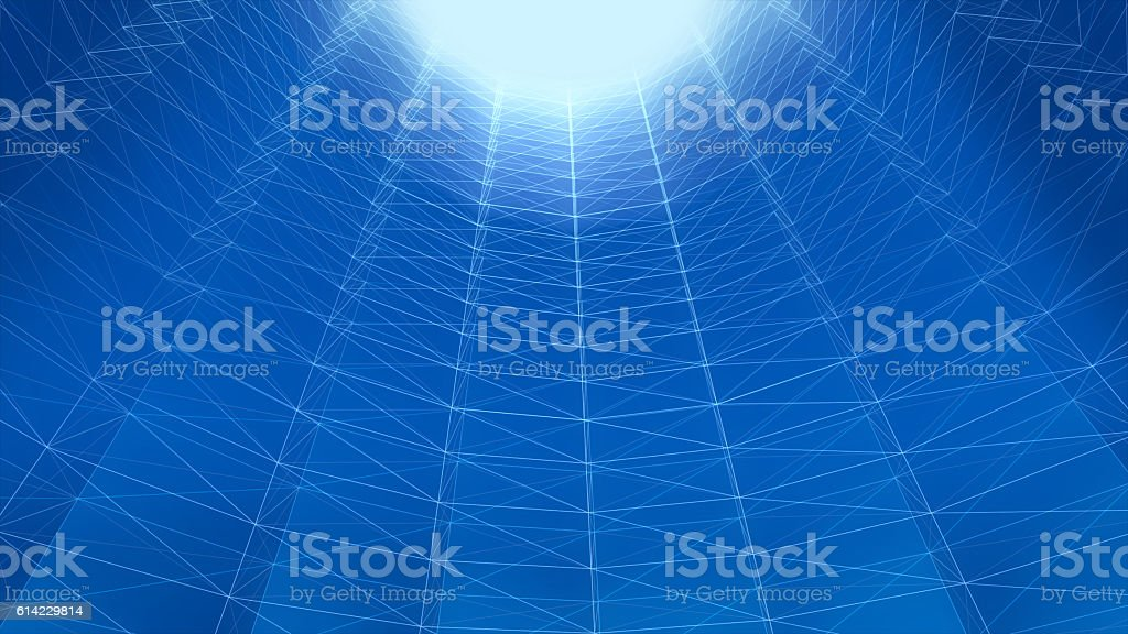 Abstract futuristic polygonal space, Tube structure. stock photo
