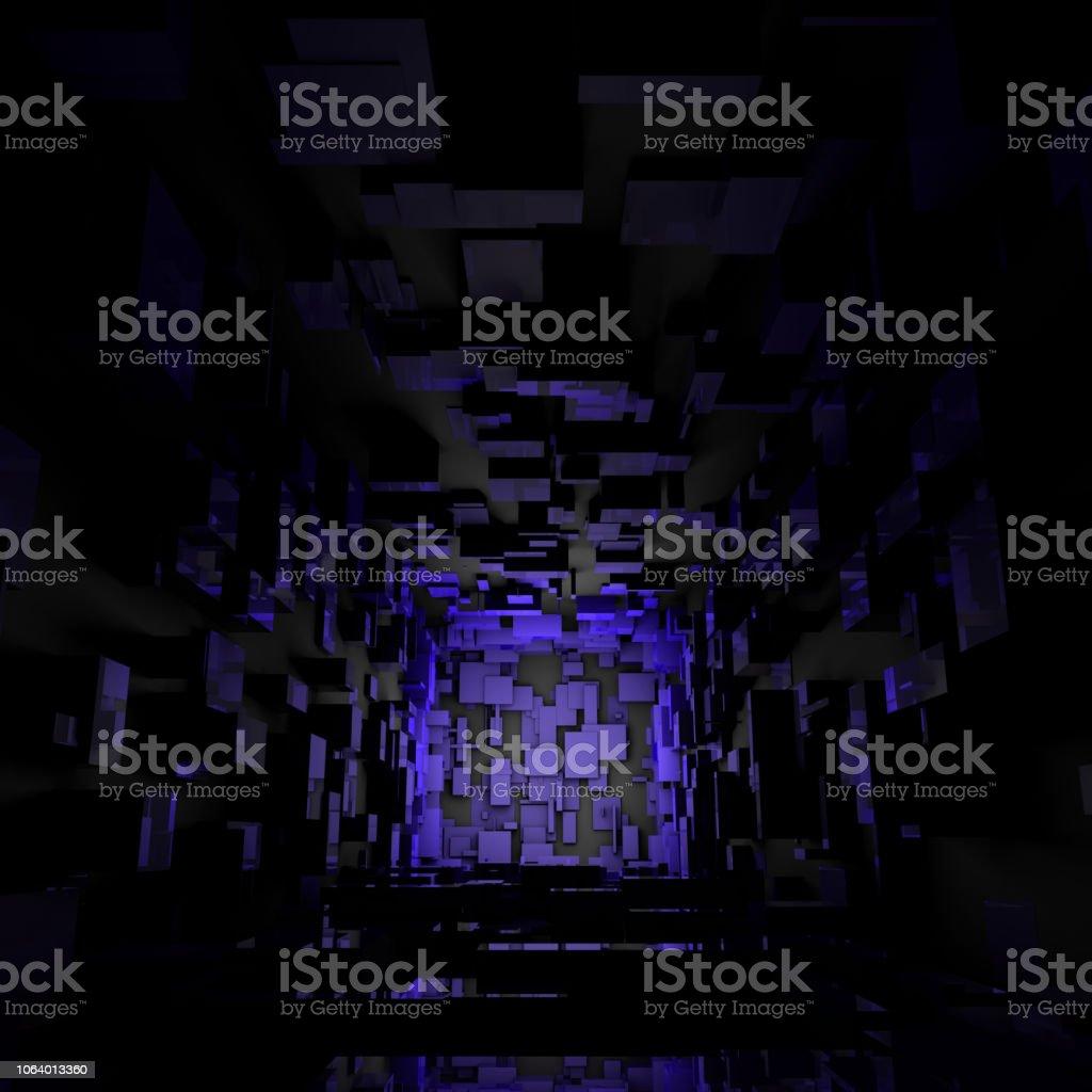 抽象的な未来サイファイ暗い明るい部屋の背景の壁紙 3dのストック