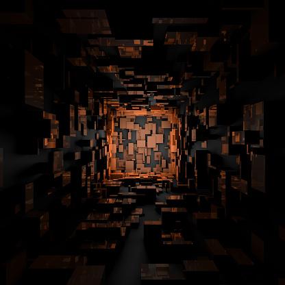 Abstract Futuristic Sci Fi Dark Orange Light Room Background Wallpaper