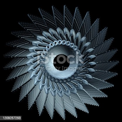884224094 istock photo Abstract Futuristic Turbine With Overlapping Blades Isolated On Black Background 1209257253
