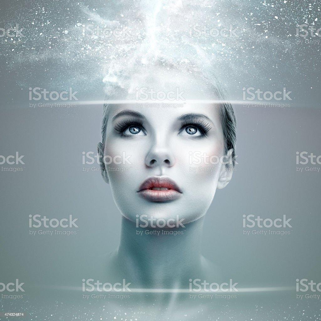 Abstract futuristic woman stock photo