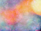 Star field in galaxy space with nebulae, abstract watercolor digital art painting for texture background