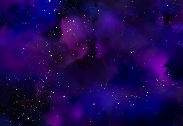 Abstract galaxy background Star field in galaxy space with nebula, abstract watercolor digital art painting for texture background lilac stock pictures, royalty-free photos & images
