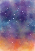 Star field in galaxy space with nebula, abstract watercolor digital art painting for texture background