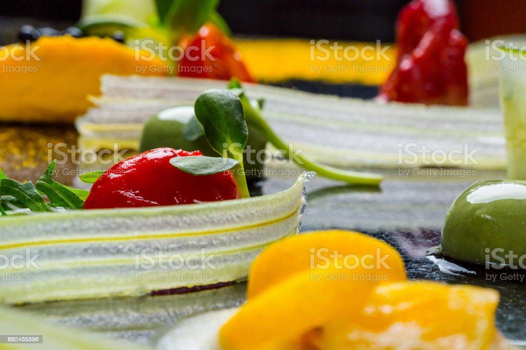 Abstract gastronomy vanguard concept molecular cuisine background stock photo