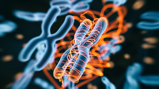 Abstract Genetics Disease - 3d rendered image. Hologram view. SEM (TEM) macroscope image. DNA mutations. Vexas disease. Medicine Healthcare research concept. X chromosomes objects.