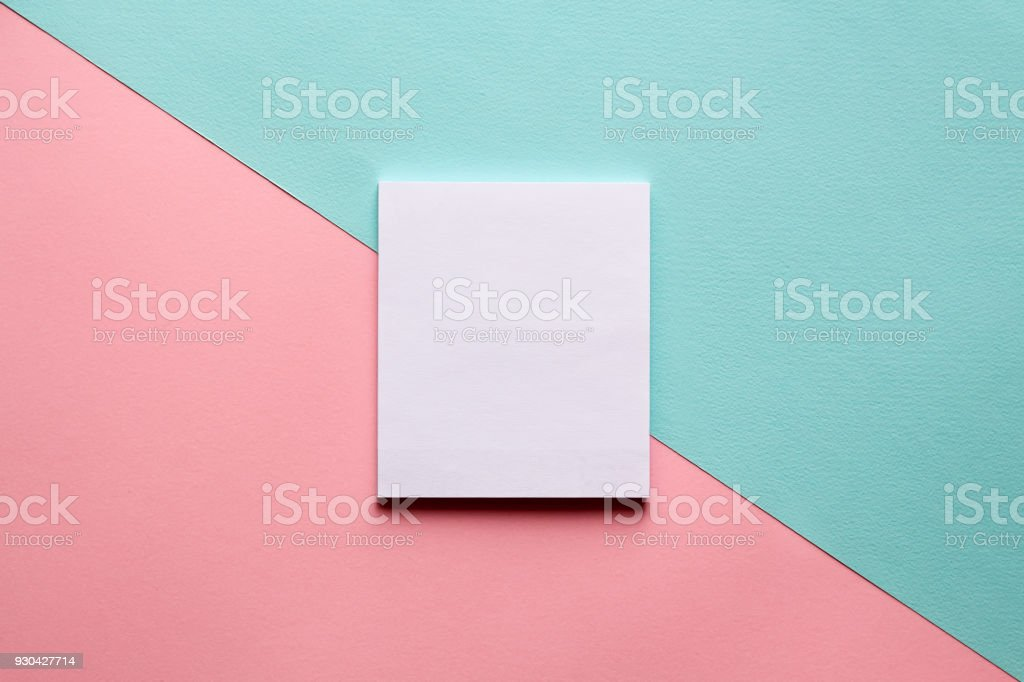 Abstract geometric background in pastel trend colors with notebook. stock photo
