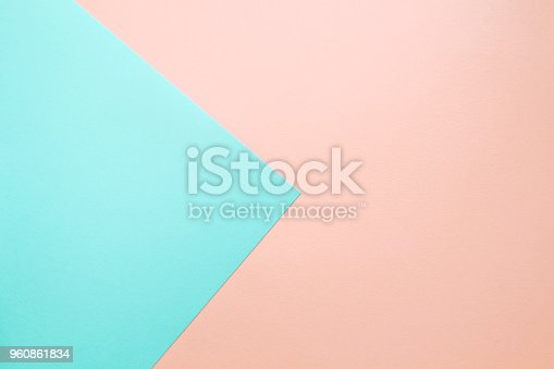 istock Abstract geometric background in soft pastel pink and blue colors. 960861834