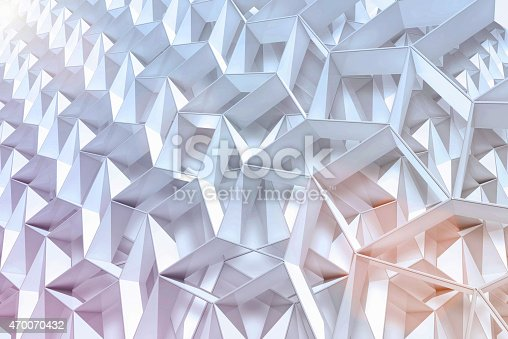 istock Abstract geometric background with 3D shapes and light 470070432