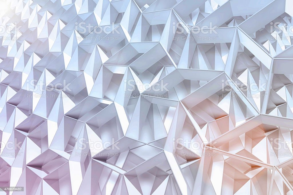 Abstract geometric background with 3D shapes and light stock photo