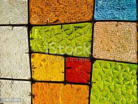 532107582 istock photo Abstract geometric colorful background. Multicolored stained glass. Decorative window of various colored rectangles. 1150212910
