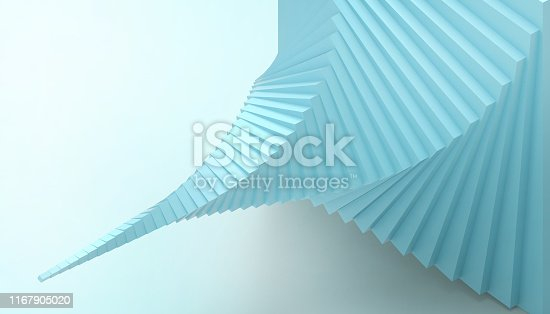 istock Abstract geometric dynamic Spiral minimal style Spiral Concept Modern Art minimal on pastel Blue background  - 3d rendering 1167905020