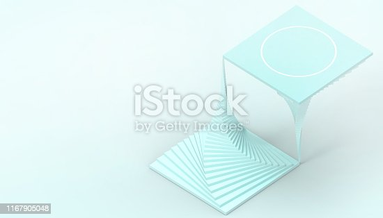 istock Abstract geometric dynamic Spiral minimal style Spiral Illusion Concept Modern Art and blue paste  background  - 3d rendering 1167905048